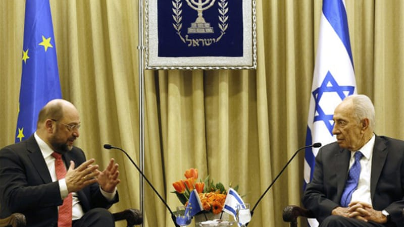 Schulz, left, said the Gaza blockade could 'undermine, rather than strengthen, Israel's security' [AFP]