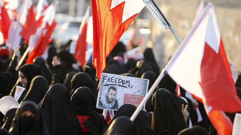 Thousands of Bahrainis held a peaceful march to mark the country's 2011 uprising [Reuters]