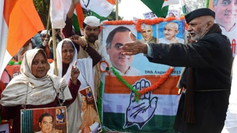 After 10 years in power, the Congress party-led ruling coalition is facing an uphill battle to convince voters [AFP]
