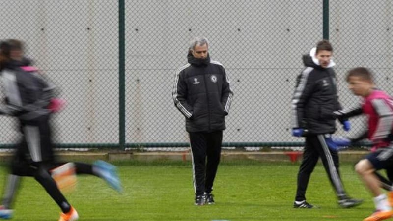 In the thick of it: Mourinho takes time out from controversy to watch his players train in Turkey [Reuters]