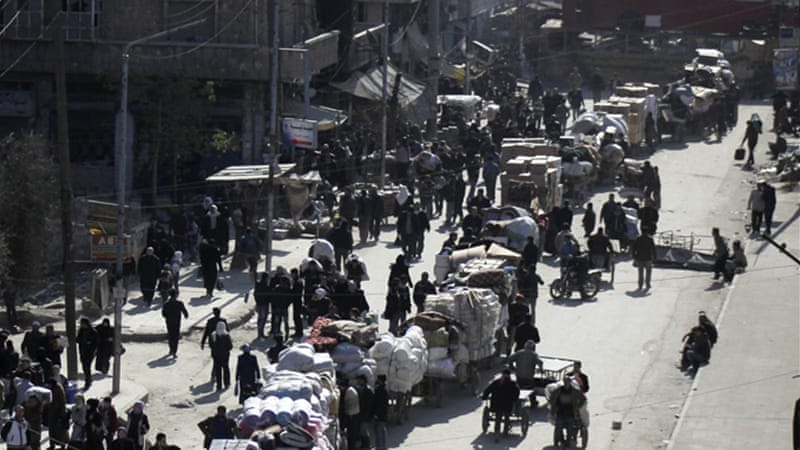 Many civilians left their homes in rebel-held areas of Aleppo out of fear of the bpmbs [Reuters]
