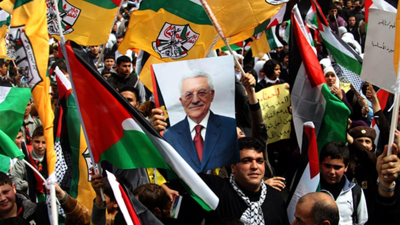 Palestinians gathered to show support for Palestinian President Mahmoud Abbas on his US trip [EPA]