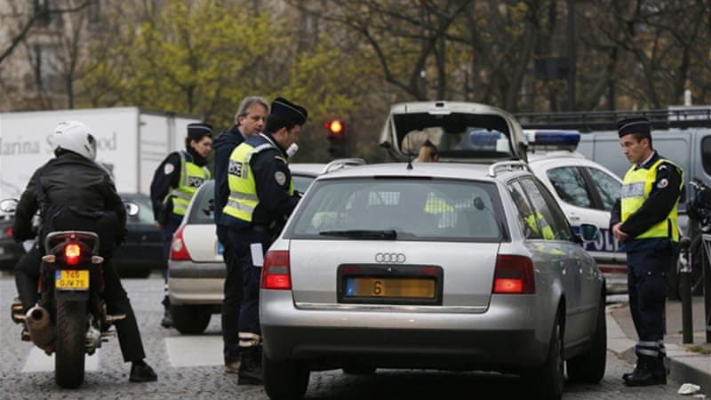 Around 700 police officers were deployed to man 60 checkpoints around the French capital [AFP]