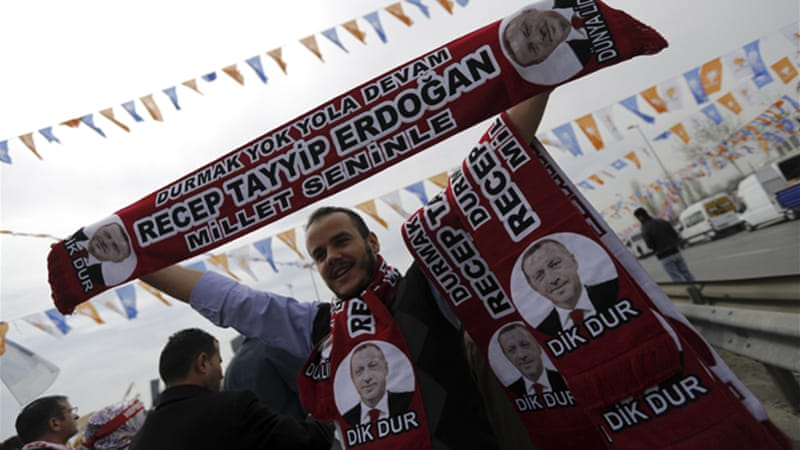 Hundreds of thousands of people showed their support for Erdogan at a rally on Sunday [Reuters]