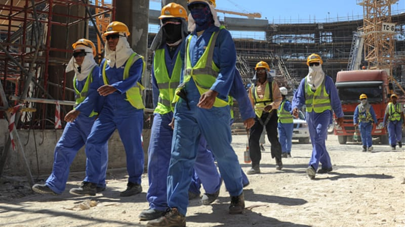 Foreign labourers in Qatar often work in dangerous, sweltering and humid conditions [EPA]