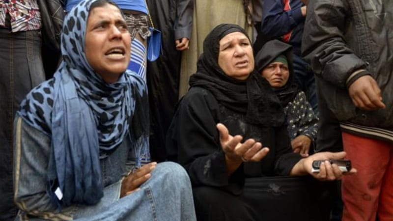 In March relatives of 529 sentenced in a previous case cried outside the Minya courthouse after the verdict [AFP]