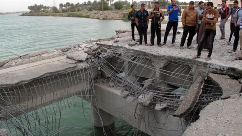 One of Sunday's attacks targeted a bridge in the city of Ramadi [AFP]