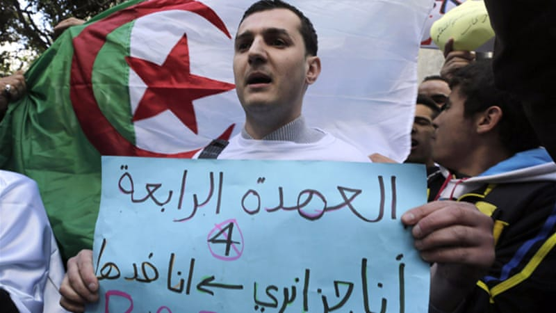 Algerian youth are campaigning for, and against, the re-election of President Abdelaziz Bouteflika [Reuters]