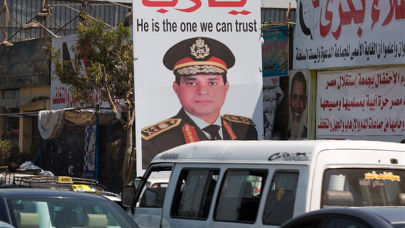 Polls show former Egyptian military chief Abdel Fattah el-Sisi will easily win next month's presidential election [EPA]