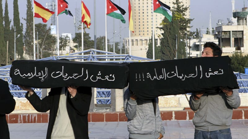 Sporadic protests have been held in recent years against restrictions on media freedom in Jordan [AP]