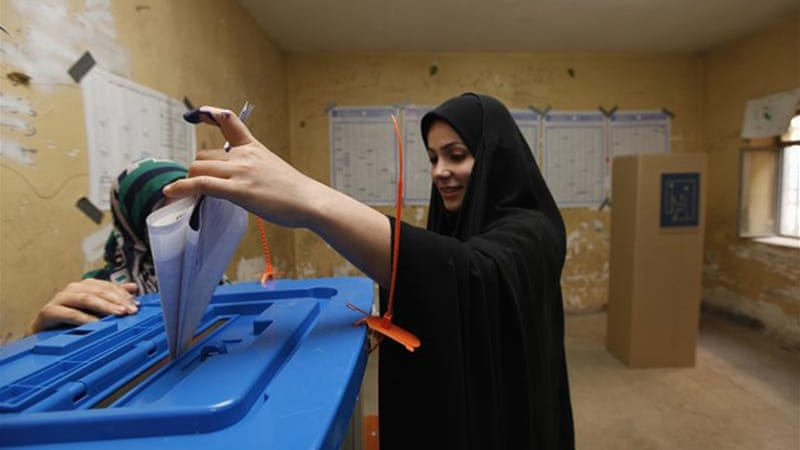 It is Iraq's first national election since US military forces withdrew in 2011 [Reuters]