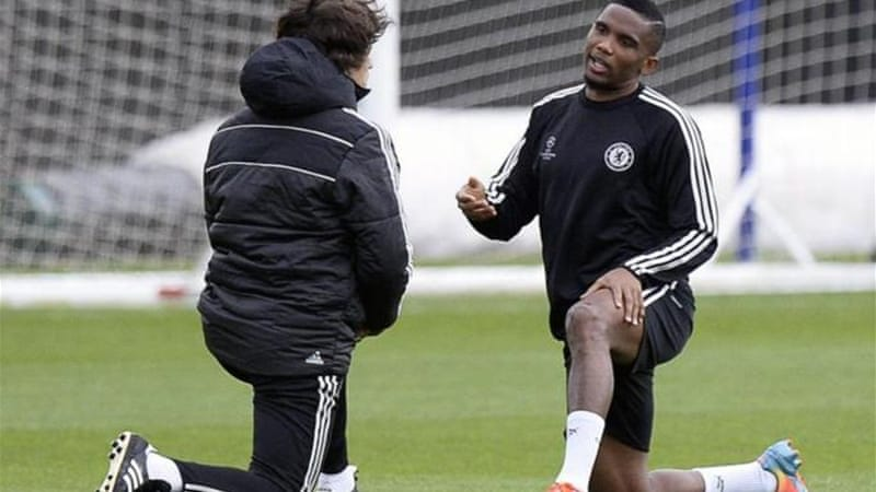 Eto'o trained on his own on Monday as he tries to recover from a hamstring injury [EPA]