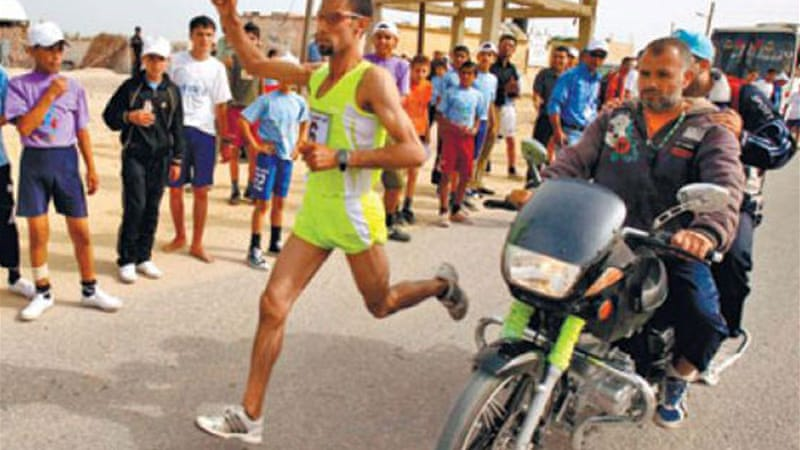 Masri was one of many Gazans denied permission to travel to take part in the West Bank marathon [Reuters]