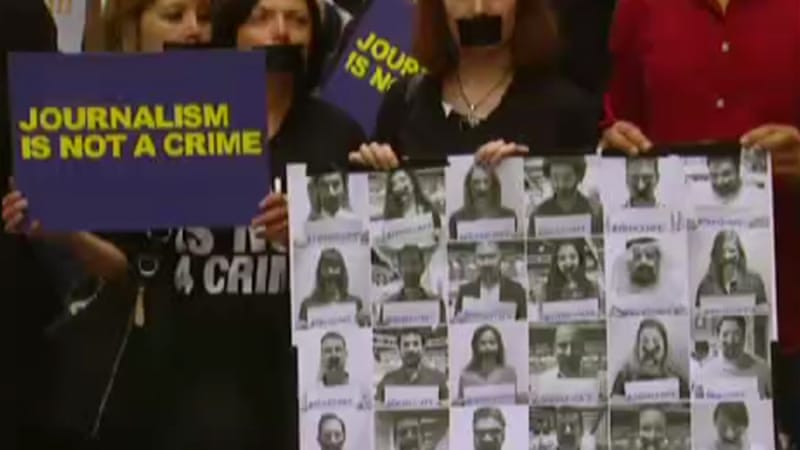 The imprisonment of Al Jazeera staff has prompted a global campaign for their release [Al Jazeera]