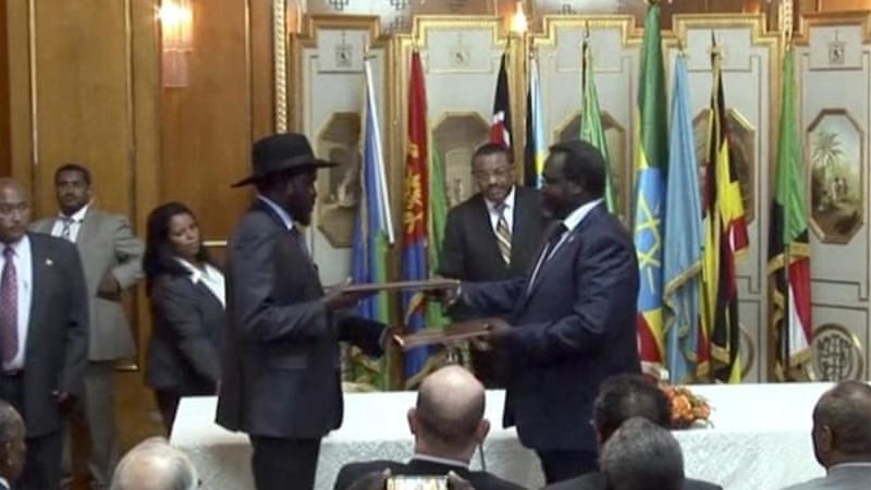 President Kiir and Riek Machar met only for the second time since the conflict begun in December [FILE: AP]