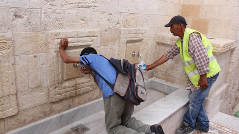 Restrictions on access and movement made the fountain restoration challenging [Shuaib Abu Jahal/Al Jazeera]