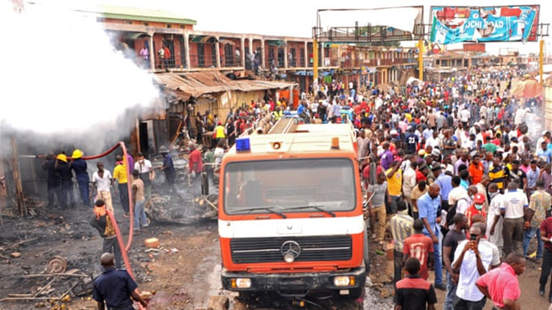The bombings occurred at the Jos Main Market, between a railway terminus and University Teaching Hospital [EPA]