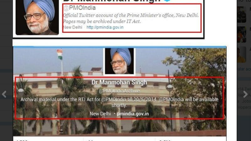 The team of departing PM Manmohan Singh reset the @PMOIndia account, renaming it @PMOIndiaArchive [Twitter]