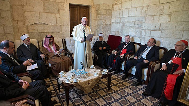 The pope called on Jews, Christians and Muslims to find common ground [EPA]