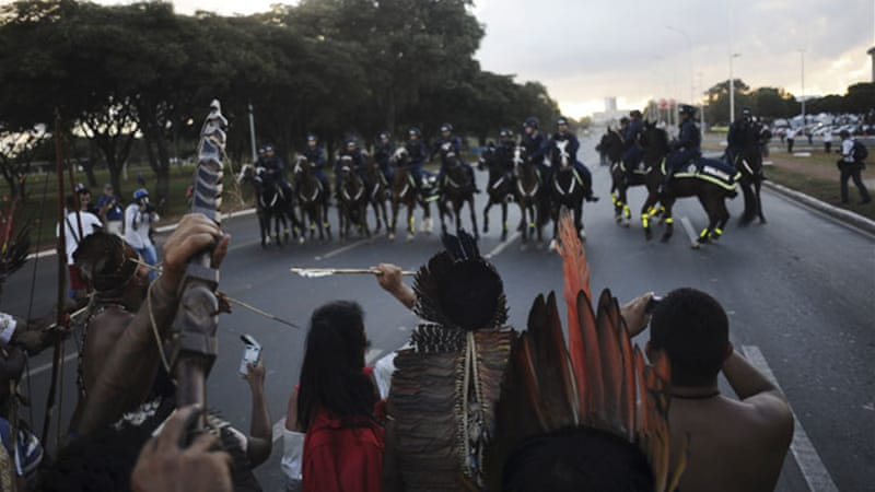 The protesters rallied against legislation that threatens to shrink the size of some reserves for indigenous [Reuters]