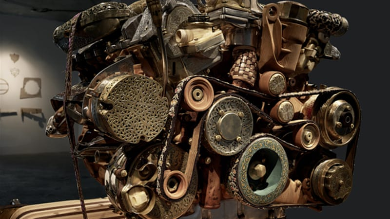 The engine on display contains gemstones, silver and fossils [Eric Van Hove/Al Jazeera]