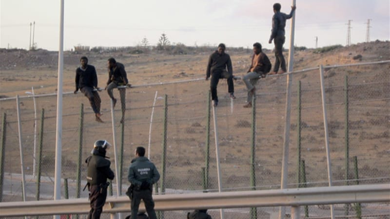 Migrants have repeatedly tried to climb the 7m fence into the Spanish territories in search of a better life [EPA]