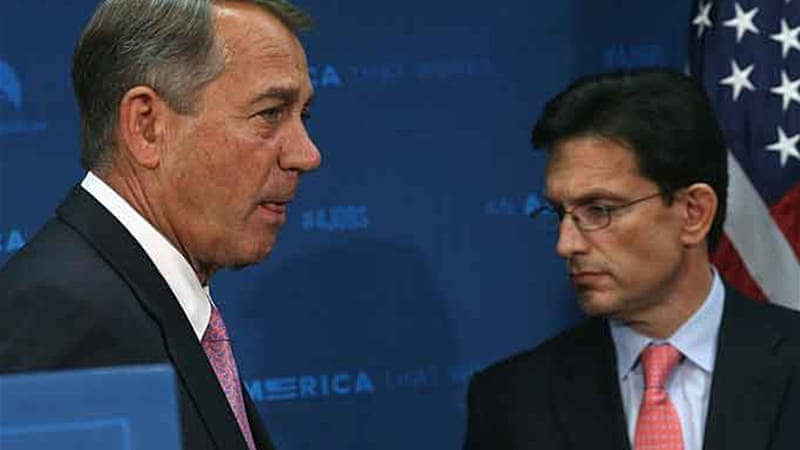 The defeat of Cantor, right, could stop other Republicans from backing a House immigration-reforms bill [AFP]