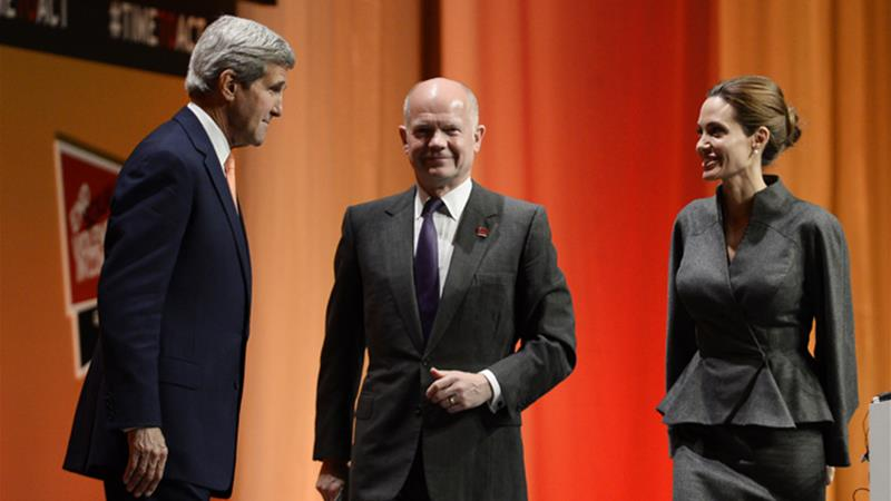 The event was co-hosted by Hollywood star Angelina Jolie and British Foreign Secretary William Hague [EPA]
