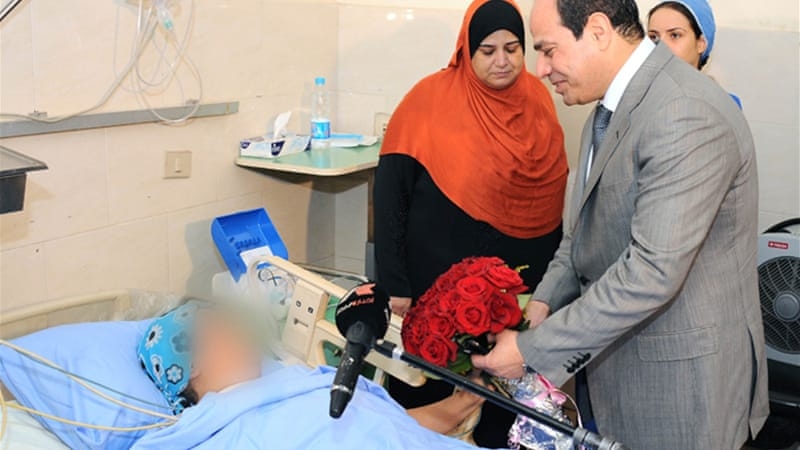President Sisi this week paid a visit to a woman who was assaulted during celebrations of his inauguration [EPA]