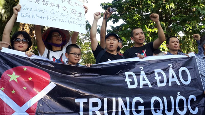 Protests have taken place in Vietnam against the Chinese move [EPA]