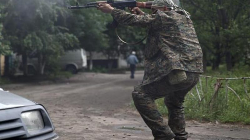 The air raid left five dead, according to Luhansk separatists [AFP]