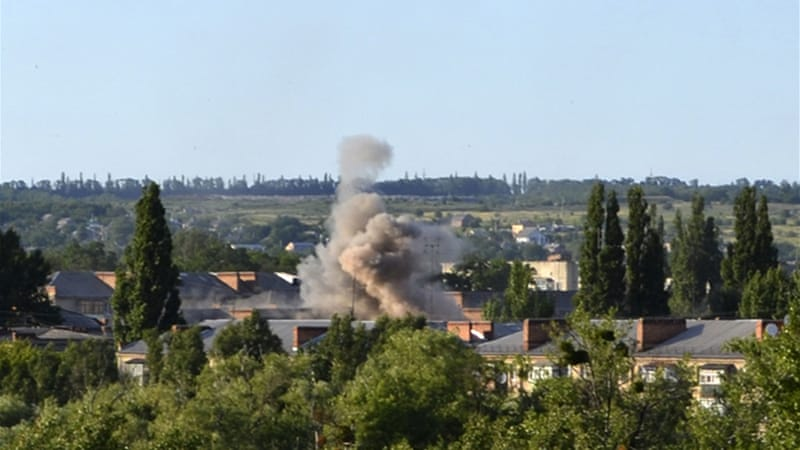 Fighting broke out just east of the town of Krasny Liman early on Thursday [AP]