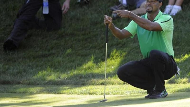 Woods' first tournament after his surgery was the Congressional Country Club last month [AP]