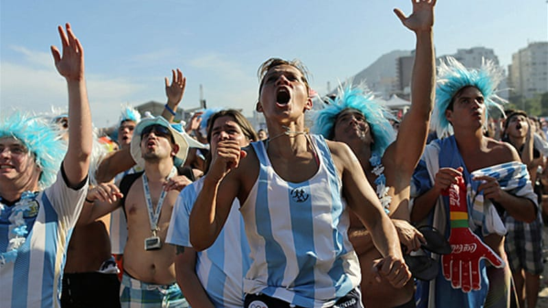 More than 100,000 Argentinians have crossed Brazil's southern border to support Messi and co in Sao Paulo [AP]