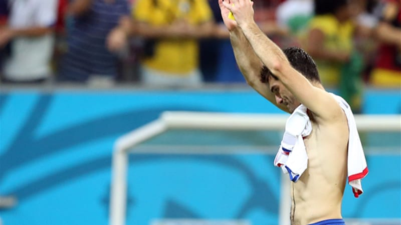 Karagounis retired after Greece lost to Costa Rica in a shoot-out in the World Cup round of 16 [EPA]