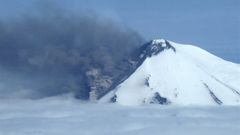 Pavlof volcano is located on the southwestern end of the Alaska Peninsula. [Reuters]