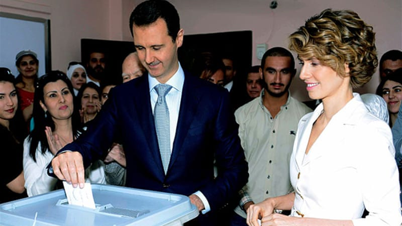 Assad was swept back to power by a June 3 election deemed  a 'farce' by the opposition [AP]