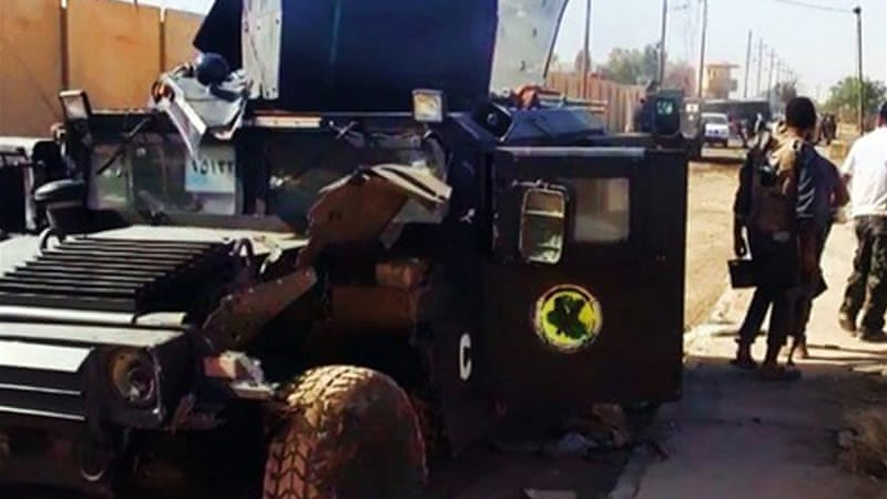 The Islamic State group posted images of damaged Iraqi army vehicles [Islamic State group via Twitter]
