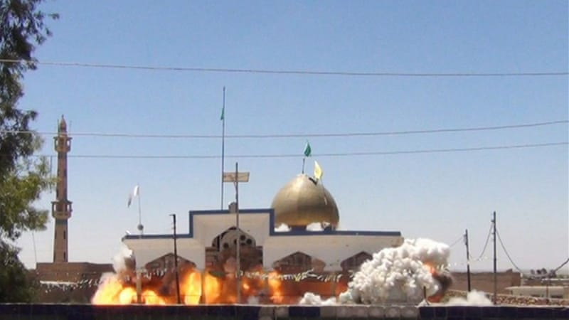 Images on social-media sites purportedly show Shia mosque's destruction by Islamic State in Tal Afar