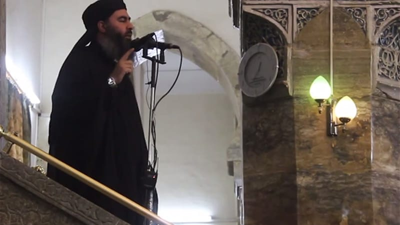 In the clip of the Friday sermon, Baghdadi says the 'establishment of a caliphate is an obligation'