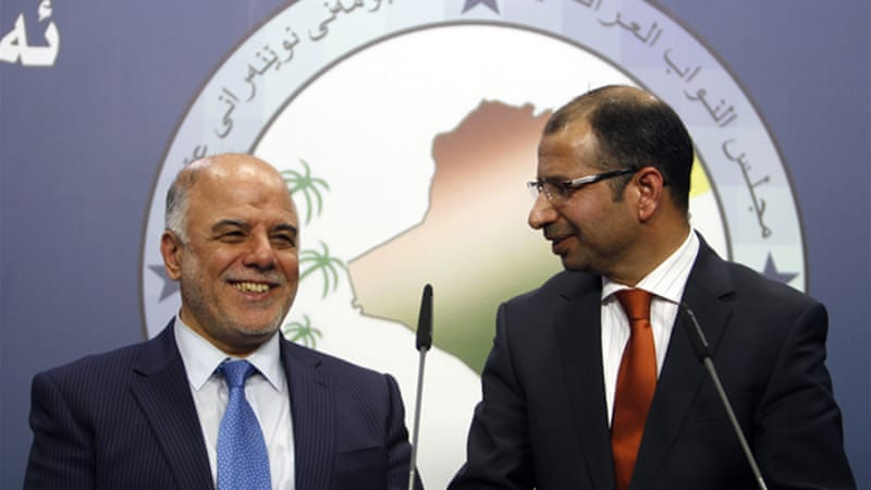 Haider al-Ibadi (L) was nominated on Monday to take over from Iraqi Prime Minister Nouri al-Maliki. [Reuters]