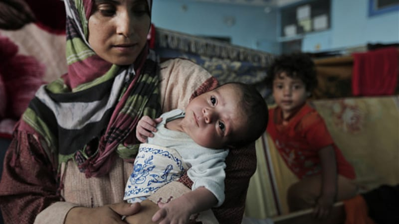 Many women have been forced to give birth at home or at shelters as hospitals in Gaza have been damaged [AP]