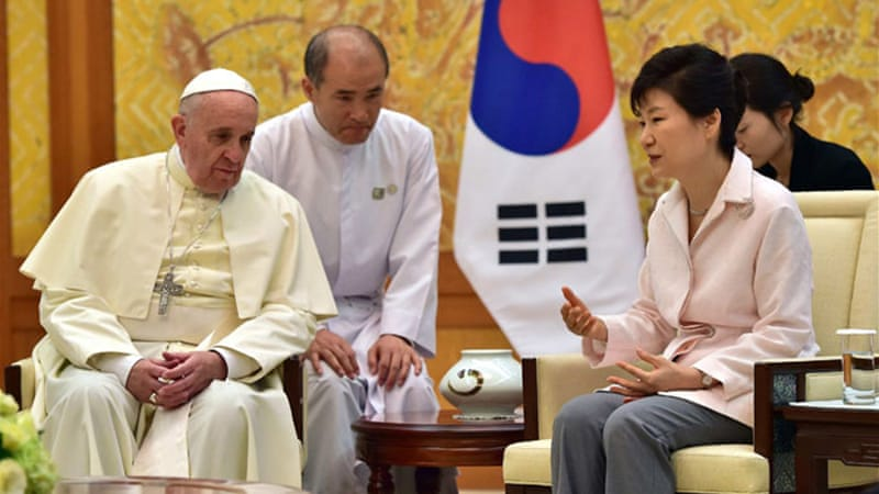 Pope Francis called for renewed efforts to forge peace on the Korean Peninsula [Reuters]
