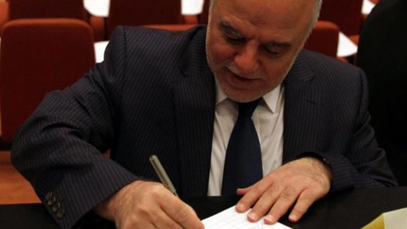Iraq's new Prime Minister Haider al-Abadi encouraged Iraqis to work together to strengthen the country [EPA]