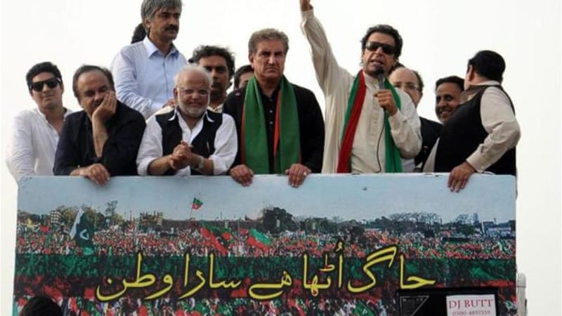 Imran Khan has threatened to occupy the protest site in Islamabad until Prime Minister Sharif quits [EPA]