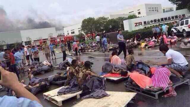 More than 100 burn victims have been admitted to a hospital in eastern Jiangsu province [Reuters]