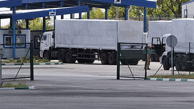 Russia has been hoping to send a massive aid convoy of over 200 trucks to help civilians in Luhansk [AP]