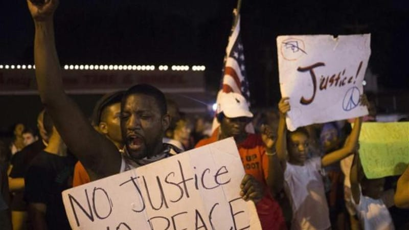 The violent clashes have tapered in St. Louis suburb but demonstrations continue [Reuters]