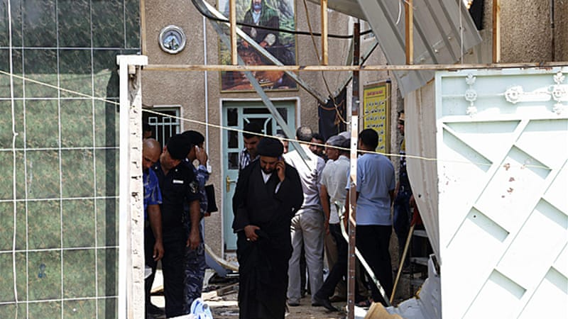 A bomber targeted worshippers as they were leaving a Shia mosque in Baghdad after noon prayers [Reuters]