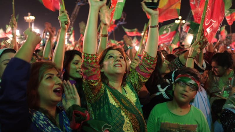 Protesters have accused Prime Minister Nawaz Sharif of rigging last year's national elections [AP]